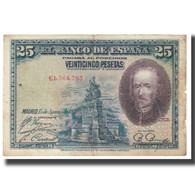 Billet, Espagne, 25 Pesetas, 1928, 1928-08-15, KM:74b, B - 1-2-5-25 Pesetas