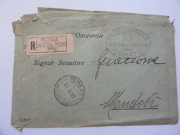 """Busta Viaggiata """"Roma Senato Del Regno -  SENATORE GIACCONE Mondovì"""" 1930 - Marcophilia"""