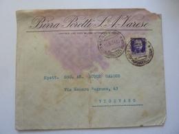 """Busta Viaggiata """"BIRRA PORETTI S.A. VARESE - SOC. ANONIMA ACQUE GAZOSE """" 1934 - 1900-44 Vittorio Emanuele III"""