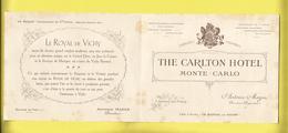 """Enveloppe Ou Lettre Publicitaire Commerciale De MONTÉ-CARLO """" THE CARLTON HÔTEL """" L'Hiver Et VICHY L' ÉTÉ - Marcophilie (Lettres)"""