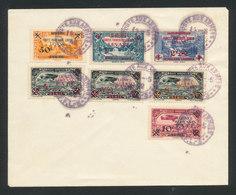 LEVANT 1942 Timbres Forces Françaises Libres YT 41/43 + Poste Aérienne 1/4 Oblitérés ALEP Sur Enveloppe (non Voyagé) - Levant (1885-1946)