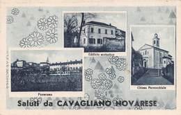 """0581 """"SALUTI DA CAVAGLIANO NOVARESE (NO) - FRAZIONE DI BELLINZAGO"""" CART. ORIG. SPED. 1953 - Italia"""