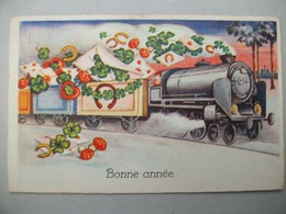 CPA  Train - Locomotive- Fer à Cheval - Nieuwjaar