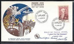 FDC 1955 - 1031 Célébrités Du XIIème Au XXème S.: Pierre Simon, Marquis De Laplace, Astronome - 1950-1959