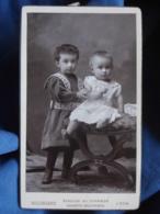 Photo CDV Bellingard à Lyon - Petit Garçon En Robe Et Bébé Vers 1895 L447 - Photographs