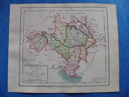 Rare Révolution Française Carte Gard 1793 Nimes Aigues Mortes Alès Uzes Vauvert Saint Hypolitte Aymargues Valleraugue - Geographical Maps