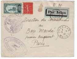 B17 Lettre Avion Militaire Avec Affranchisst Mixte Tp Maroc + Semeuse N°199 France (1932) - Maroc (1891-1956)