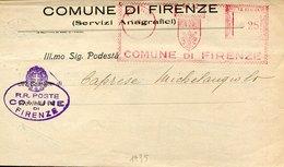 45427 Italia, Red Meter Freistempel 1935 Firenze  Comune Di Firenze Per Caprese Michelangelo - Marcophilie - EMA (Empreintes Machines)