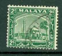 Malaya - Selangor: 1935/41   Mosque   SG69    2c   Green  Used - Selangor