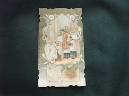 SANTINO HOLY PICTURE IMAGE SAINTE RICORDO DELLA PRIMA COMUNIONE 28 LUGLIO 1912 PIEGHE MACCHIA SCURA - Religione & Esoterismo