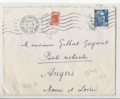 Lettre (1954) De Livry-Gargan à Angers En Poste Restante, Affranchie à 15 Frs Et Taxée Par Moitié Du N°86 - Taxes