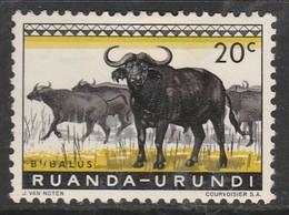 Ruanda Urundi 1959 Fauna 20 C Yellowish Green/black SW 158 Mint Hinged - 1948-61: Used