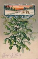 Noel : Joyeux Noel : Carte Gaufrée - Gui Et Paysage - Noël