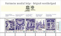 Blok 168** Met 3893/97**  Belgisch Werelderfgoed, Spiennes, Tournai, Antwerpen, Brugge, Brussel, Horta - Blocks & Sheetlets 1962-....