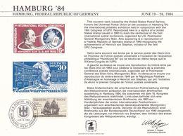"""USA 1984: HAMBURG'84 """"19th.UPU-CONGRESS"""" (Blair & Stephan) Mit Michel-No. 1628 Mit O USPS JUN 19 1984 HAMBURG - U.P.U."""