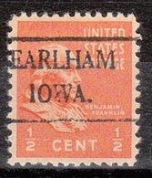 USA Precancel Vorausentwertung Preo, Locals Iowa, Earlham 492 - Vereinigte Staaten