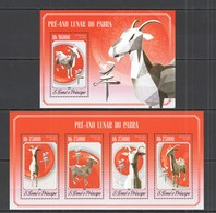 ST1612 2014 S. TOME E PRINCIPE FAUNA ART ANIMALS LUNAR YEAR OF GOAT  KB+BL MNH - Chinees Nieuwjaar