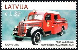 Latvia Lettland Lettonie 2019 (08) Latvia Automotive History - Ford Vairogs V8 - Fire Truck, 1938 - Latvia