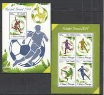 ST1639 2014 S.TOME E PRINCIPE SPORT FOOTBALL WORLD CUP BRAZIL KB+BL MNH - 2014 – Brasile