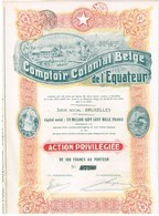 Action Ancienne - Comptoir Colonial Belge De L' Equateur -Titre De 1920 - N° 07206 - Afrika
