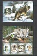 ST1681 2014 S.TOME E PRINCIPE FAUNA ANIMALS WILD CATS SNOW LEOPARDES KB+BL MNH - Raubkatzen