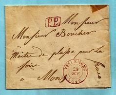 Tienen - Brief Zonder Inhoud, Afst. TIRLEMONT 29/10/1840 (Herlant 32) + Omkaderde P.P. - Port : 4 (verso) - 1830-1849 (Belgique Indépendante)