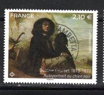 France 2019.Gustave Courbet Autoportrait Au Chien Noire.Cachet Rond Gomme D'origine. - Usati