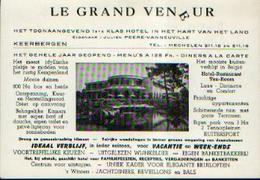 KEERBERGEN – Hôtel « LE GRAND VENEUR » Carte Publicitaire Ancienne - Publicités