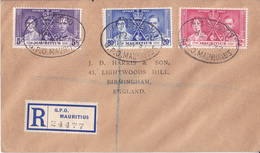 Mauritius To England  - 1937 Coronation - Raccomandata - Mauritius (1968-...)