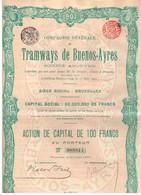 Ancienne Action - Compagnie Générale Des Tramways De Buenos Ayres -  Titre De 1907 - N° 088814 - Chemin De Fer & Tramway