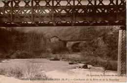 Cpa 64 Ossès-St-Martin-d'Arrossa Confluent De La Nive Et De La Nourépe ,pont Ferroviaire , Rare , Timbre Pétain 1f20 - Autres Communes