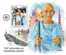 ANGOLA 2019 - M. Gandhi, Peacock S/S. Official Issue - Paons