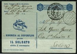 Ref 1296 - 1942 Italy Miltary Postal Stationery Card - Casale Monfrrato To Savona - 1900-44 Vittorio Emanuele III