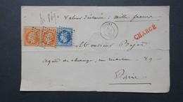 Lettre 1868 De Joigny Yonne Chargé Valeur Déclarée 1000 Fr Affr. A  1 Fr Variété Piquage Napoleon N° 23 X 2 Et N° 29 - Marcofilie (Brieven)