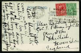 Ref 1296 - 1927 Aden Yemen Postcard With GB Stamps & France Marseille Slogan Postmark - Unusual - Yemen