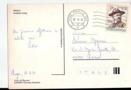 U4484 POSTCARD 1991 PRAHA, PRAZSKE MOSTY + NICE STAMP, BOLLO AFFRANCATO _ FOTO JIRI SOUREK EXPRINT CERVENY - Repubblica Ceca
