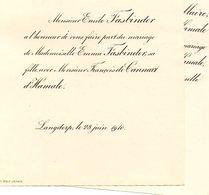 Mariage 1910 -2 Feuilles  Emma Fasbinder Langdorp Aarschot Avec François De Cannart D'Hamale Bruxelles Général LeMaire - Mariage