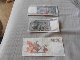 ITALIA   LOTTO  3   BANCONOTE    -   10 000 -  50 000  -  100 000 - 100000 Lire
