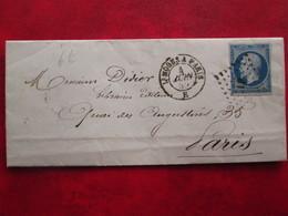 Napoleon N°14 Type I Bleu Lettre Cachet Ambulant De Limoge à Paris  Du 04/06/1859 - Marcophilie (Lettres)