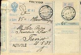45472 Italia, Vaglia Postale Da Altivole Treviso  21.3.1923 Per Treviso - 1900-44 Vittorio Emanuele III