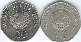 Guernsey - Elizabeth II - 20 Pence - 1992 (KM44) & 2009 (KM90) - Guernsey