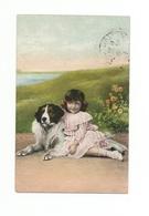 ENFANTS - LITTLE GIRL - MÄDCHEN - Jolie Carte Fantaisie CHIEN - Bambini