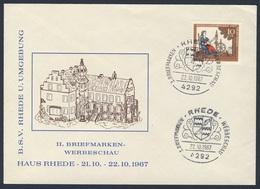 Deutschland Germany 1967 Brief Cover Enveloppe - 2. Briefmarken-Werbeschau,  21.-22.10.1967 Haus Rhede / Exhibition - Omslagen