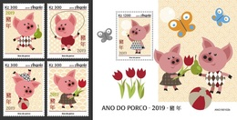 Angola 2019, Year Of The Pig, 4val In BF +BF - Astrologie