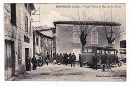 Carte Postale Aude Bouriège Café Vidal Et Rue De La Poste Photo Gorgues Espéraza  1938 - Frankrijk