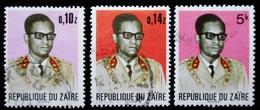 ZAIRE Yt 813 , 827, 828. President Mobutu - 1971-79: Oblitérés