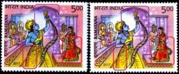 RELIGIONS-HINDUISM- EPIC RAMAYAN-ERROR-COLOR VARIETIES-LORD RAMA BREAKING THE BOW- SWAYAMVAR-INDIA-2017-SCARCE-MNH-H-805 - Hinduism