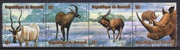Burundi 1975 Strip Of Four Fine Used Stamps From The African Animals 2nd Series. - 1970-79: Used