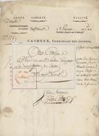 Armée Du Danube Div.Neuf Brisach An 7 - 27.5.1799 Cachet Rouge Convention Nationale Cacheux Commis. Des Guerres - Marcophilie (Lettres)