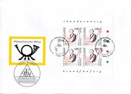 """BRD Großform. Schmuck-FDC """"200. Geburtstag Von Heinrich Heine"""", Viererblock Mi. 4x 1962  ESSt 6.11.1997 BERLIN ZENTRUM - FDC: Buste"""